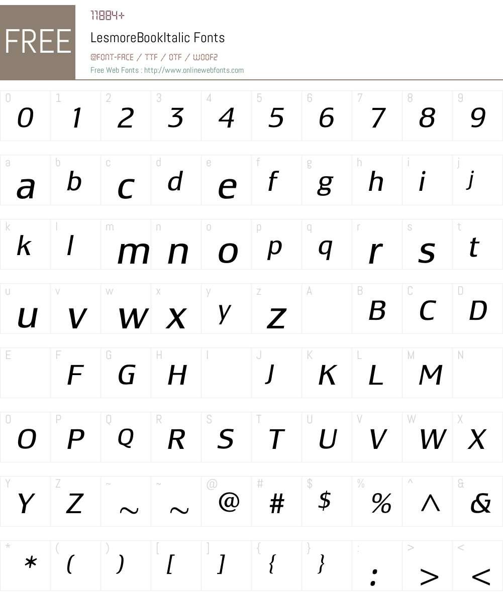 LesmoreBookItalic Font Screenshots