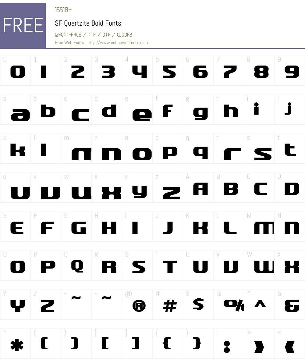 SF Quartzite Font Screenshots