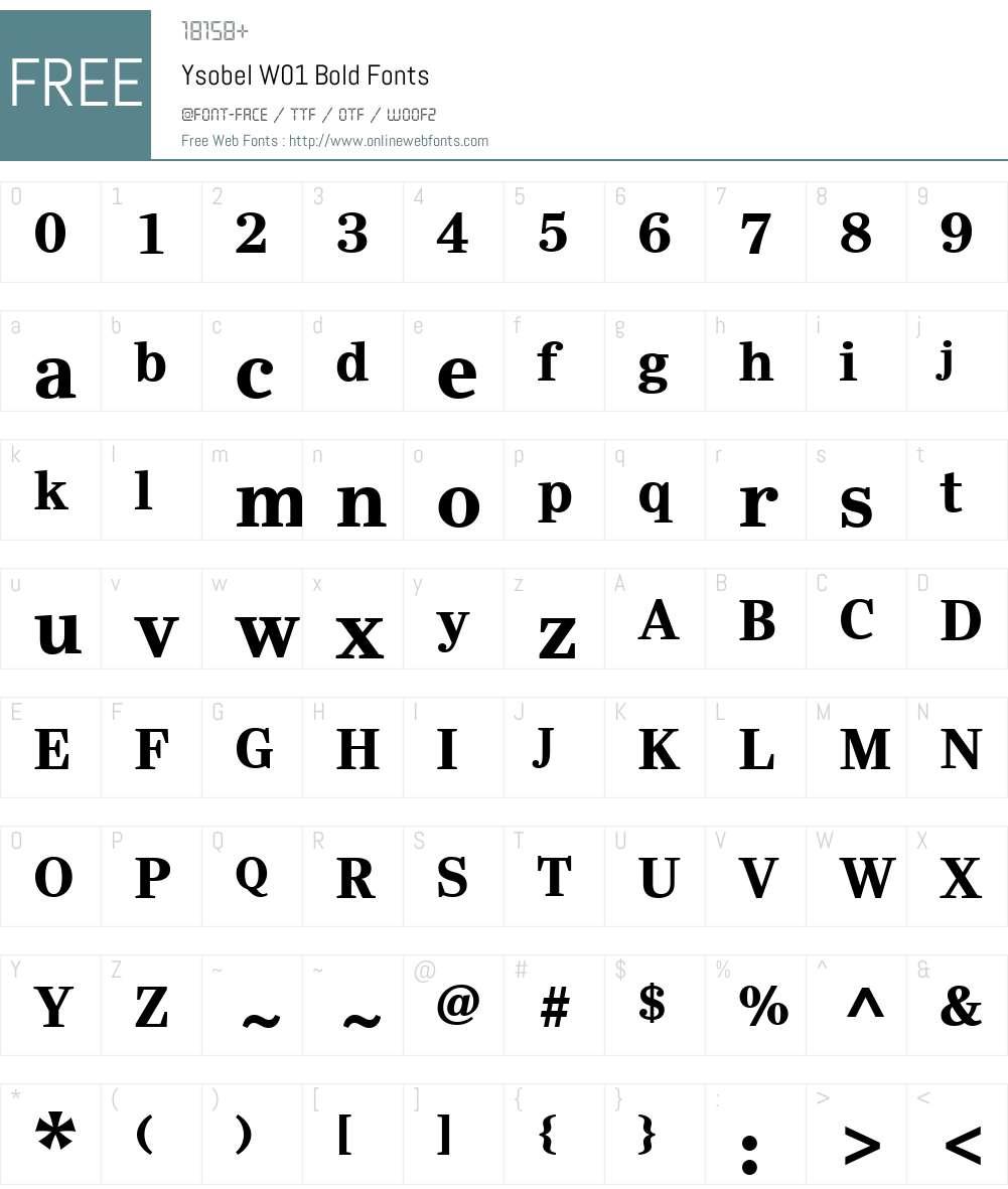 YsobelW01-Bold Font Screenshots