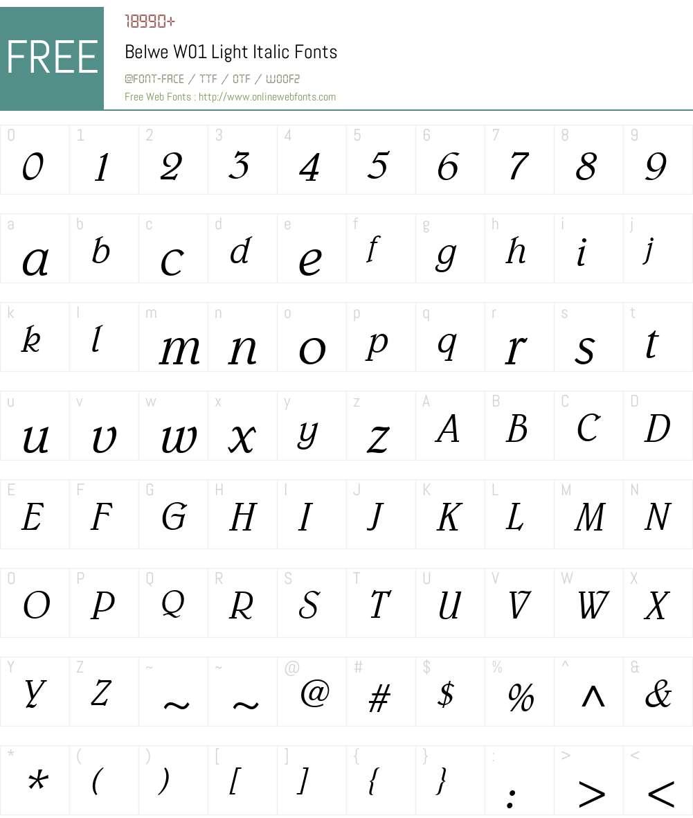 BelweW01-LightItalic Font Screenshots