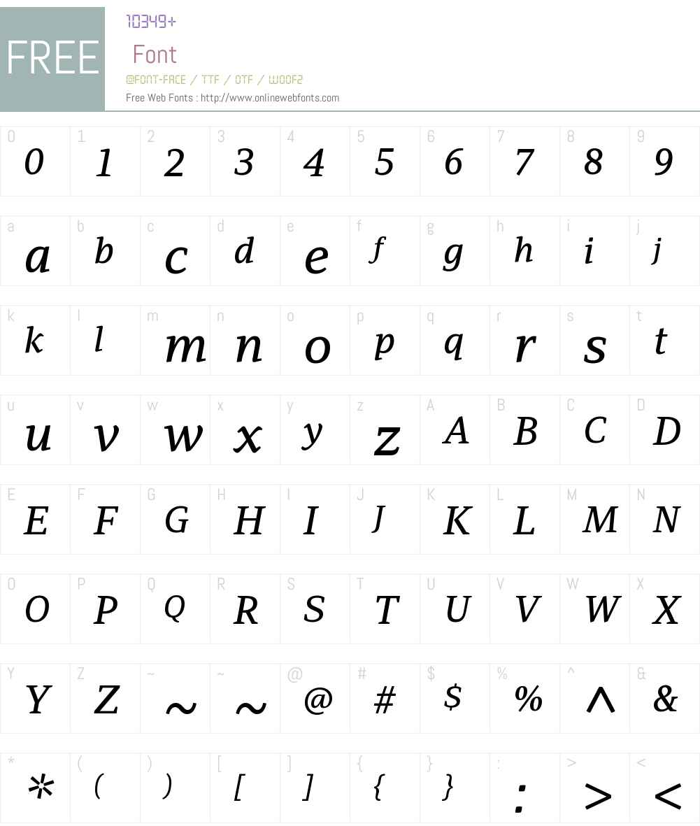 PFAdamantW01-MediumItalic Font Screenshots