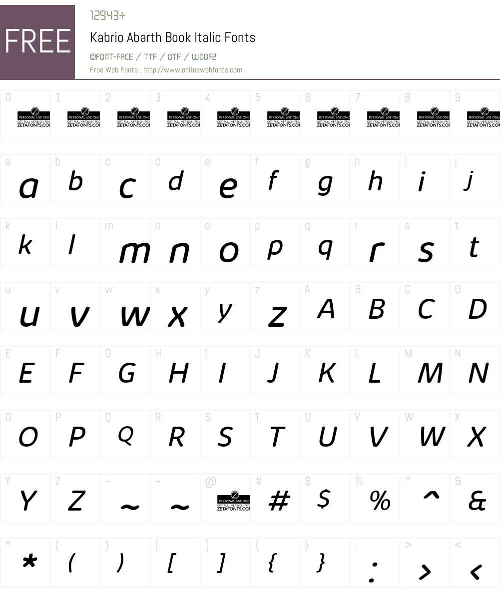 Kabrio Abarth Font Screenshots