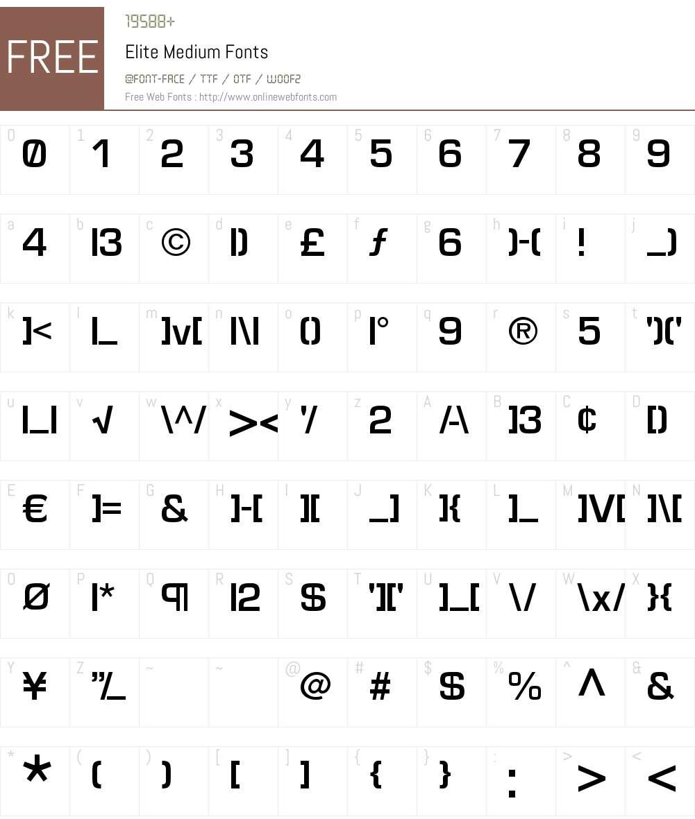 Elite Font Screenshots