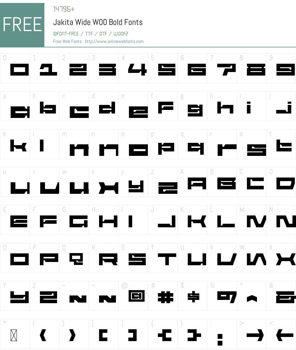 JakitaWideW00-Bold Font Screenshots