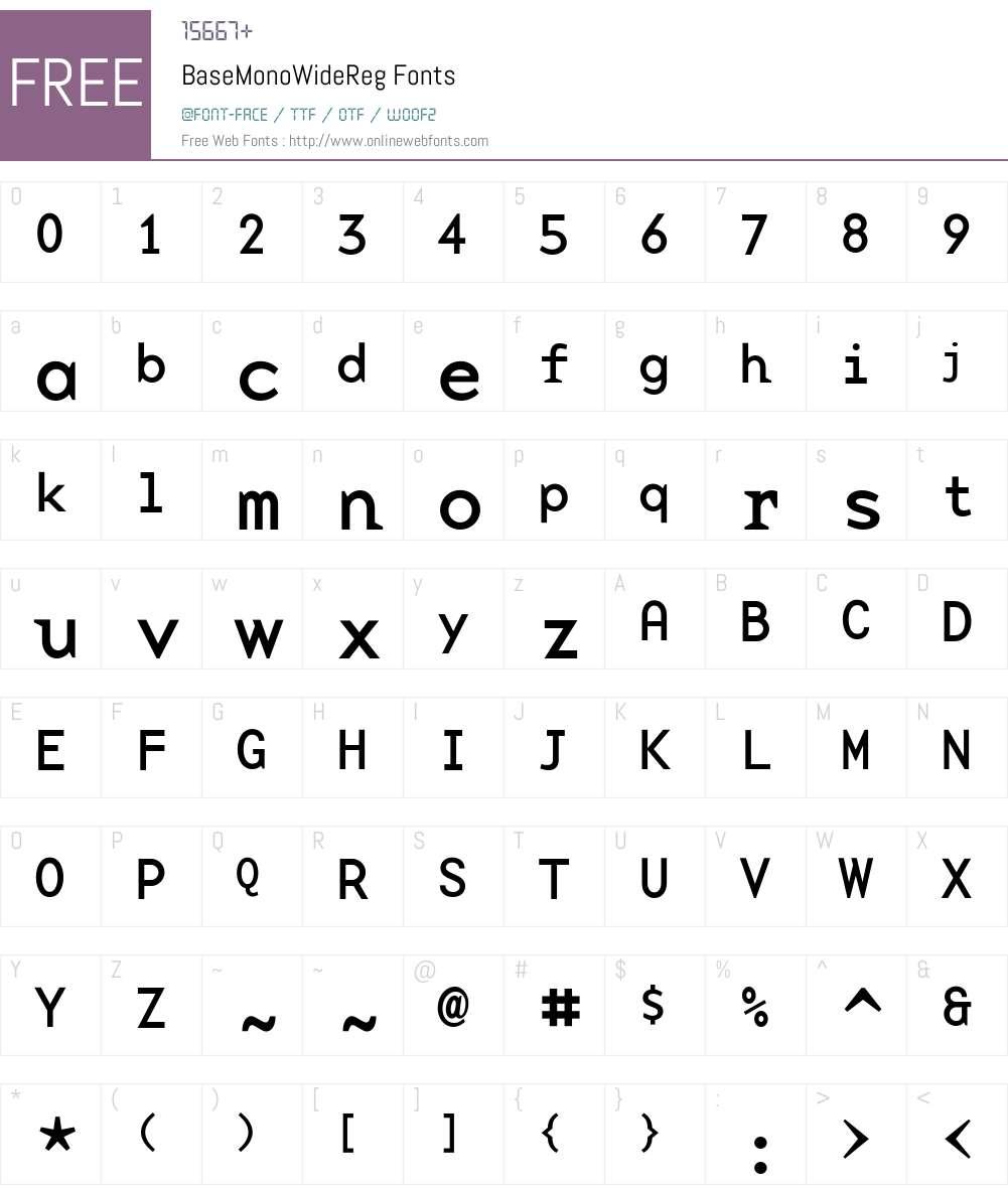 BaseMonoWideReg Font Screenshots