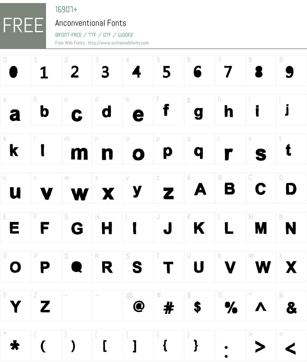 Anconventional Font Screenshots