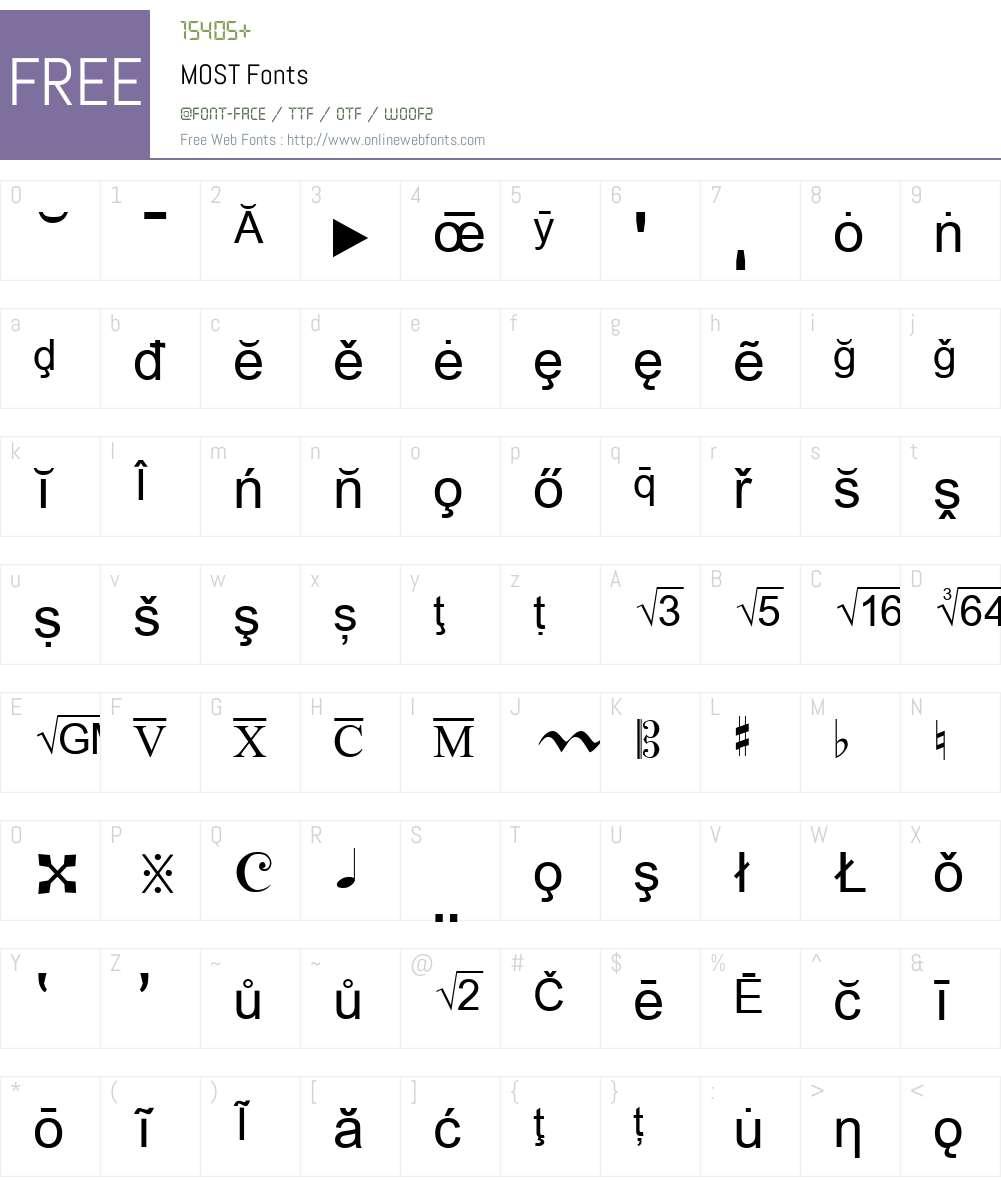 MOST Font Screenshots