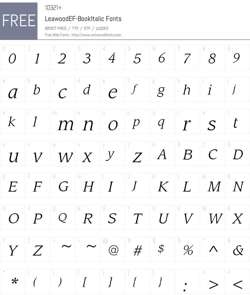 LeawoodEF-BookItalic Font Screenshots