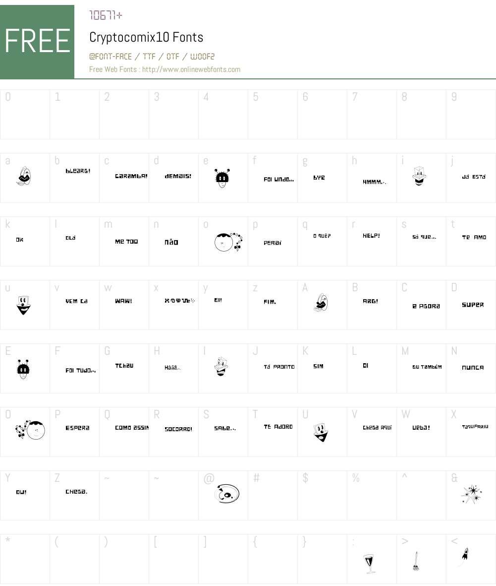 Cryptocomix10 Font Screenshots