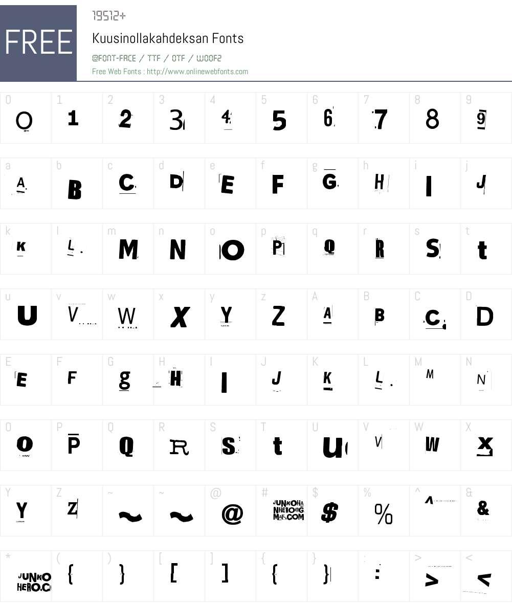 Kuusinollakahdeksan Font Screenshots