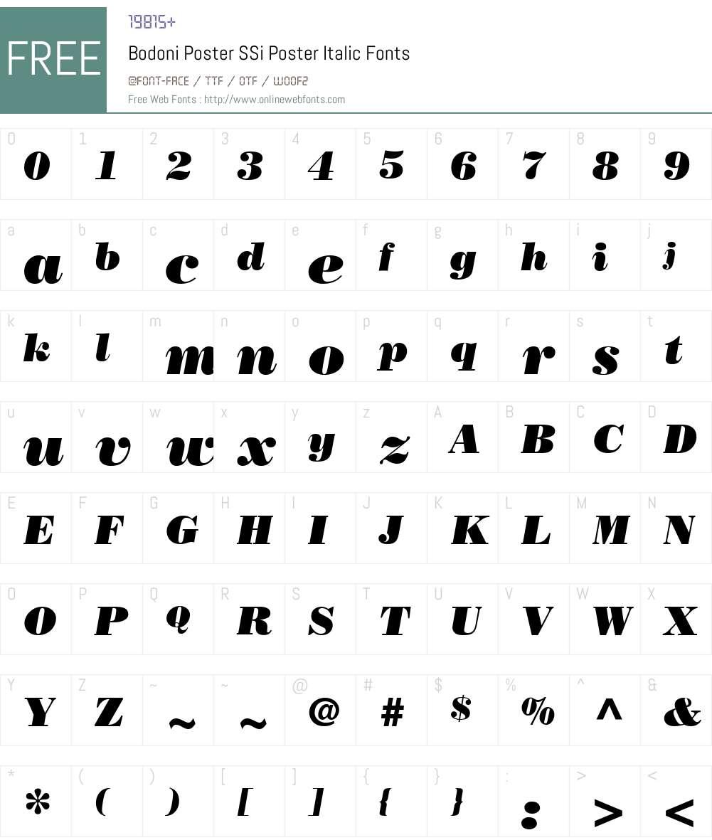 Bodoni Poster SSi Font Screenshots