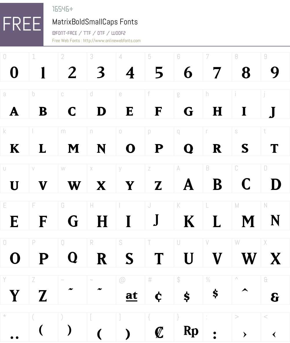 MatrixBoldSmallCaps Font Screenshots