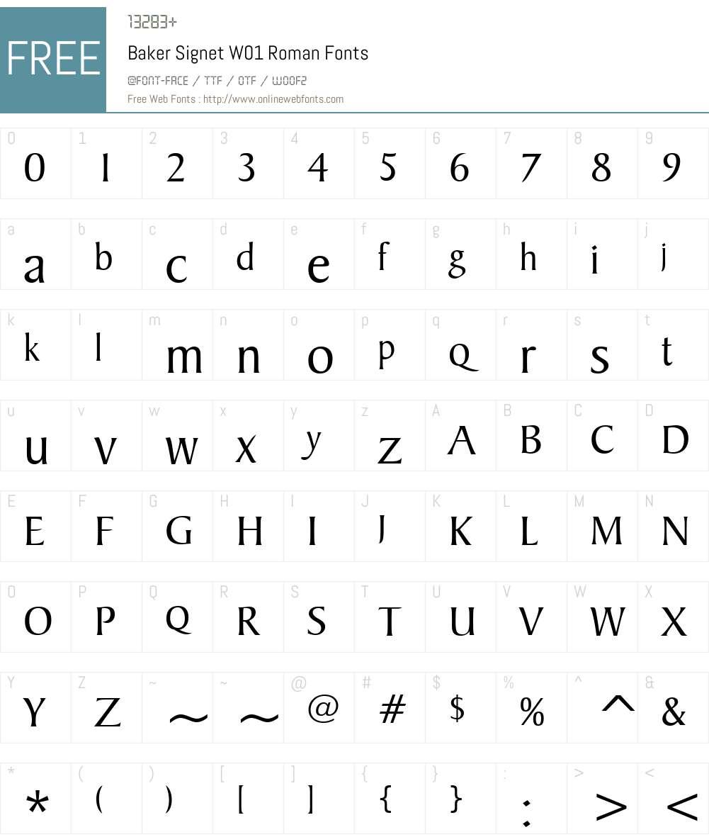 BakerSignetW01-Roman Font Screenshots