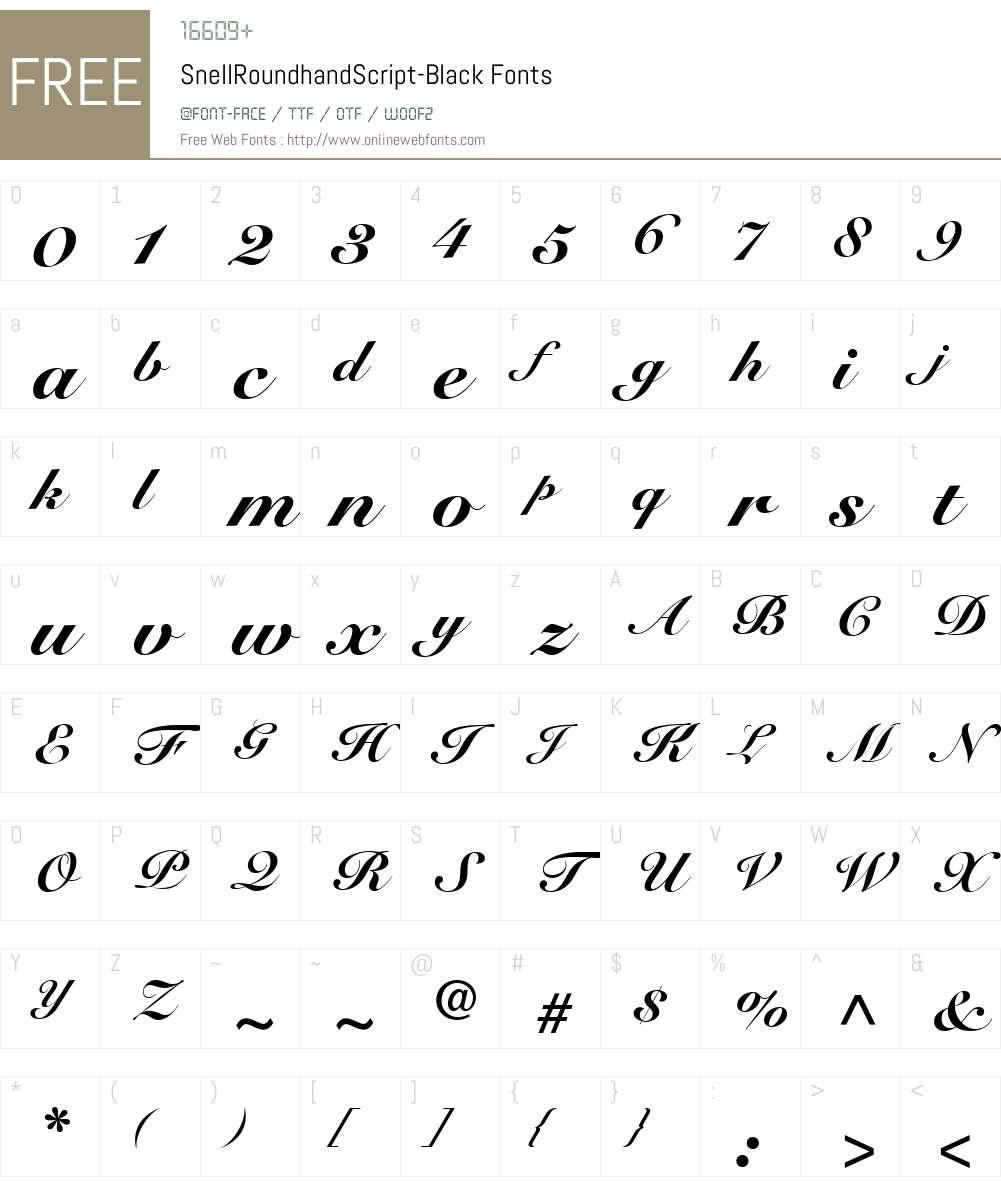 SnellRoundhandScript-Black Font Screenshots