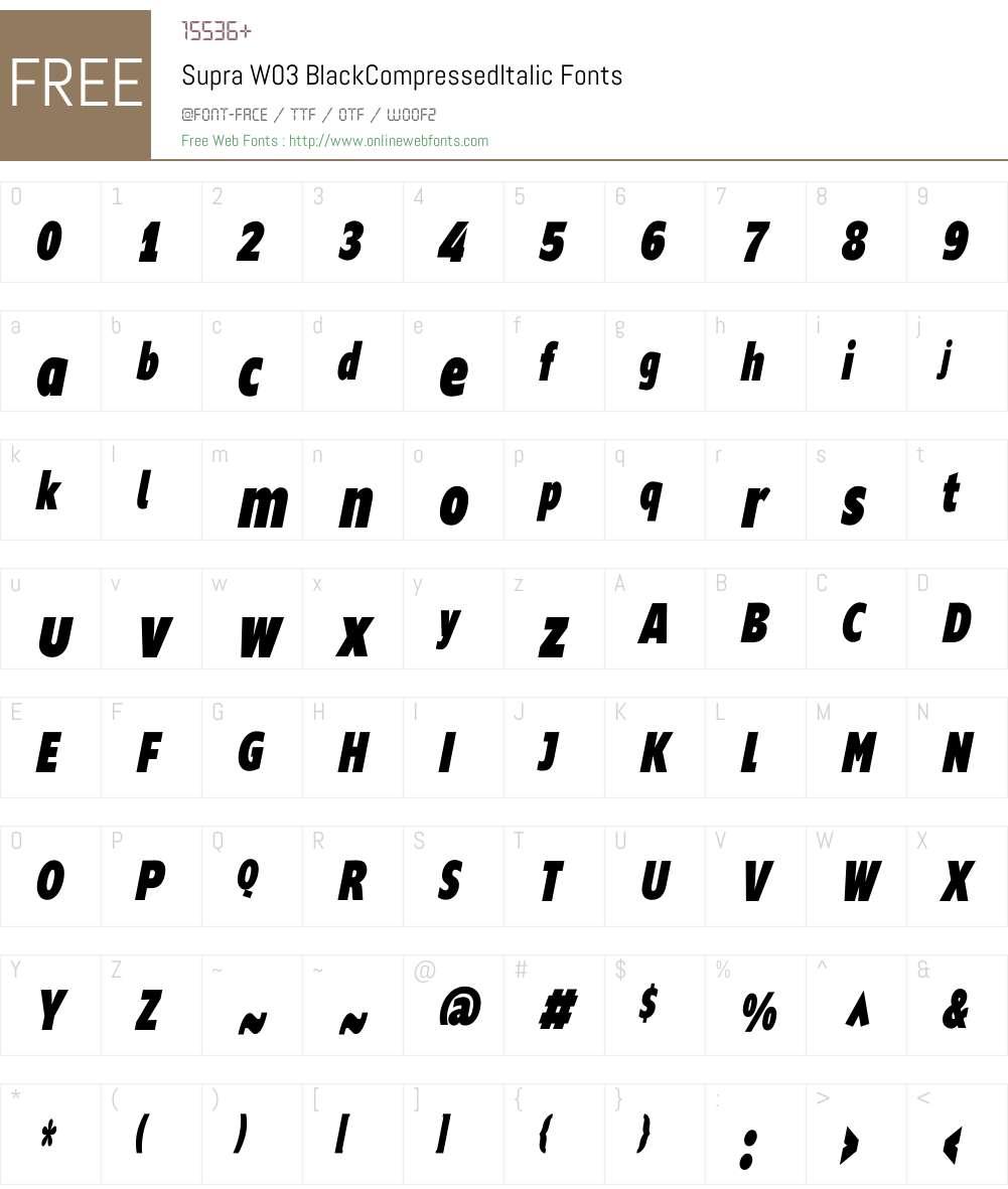 Supra Compressed Font Screenshots