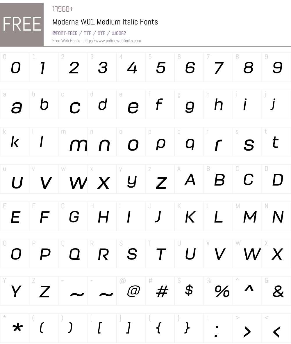 ModernaW01-MediumItalic Font Screenshots