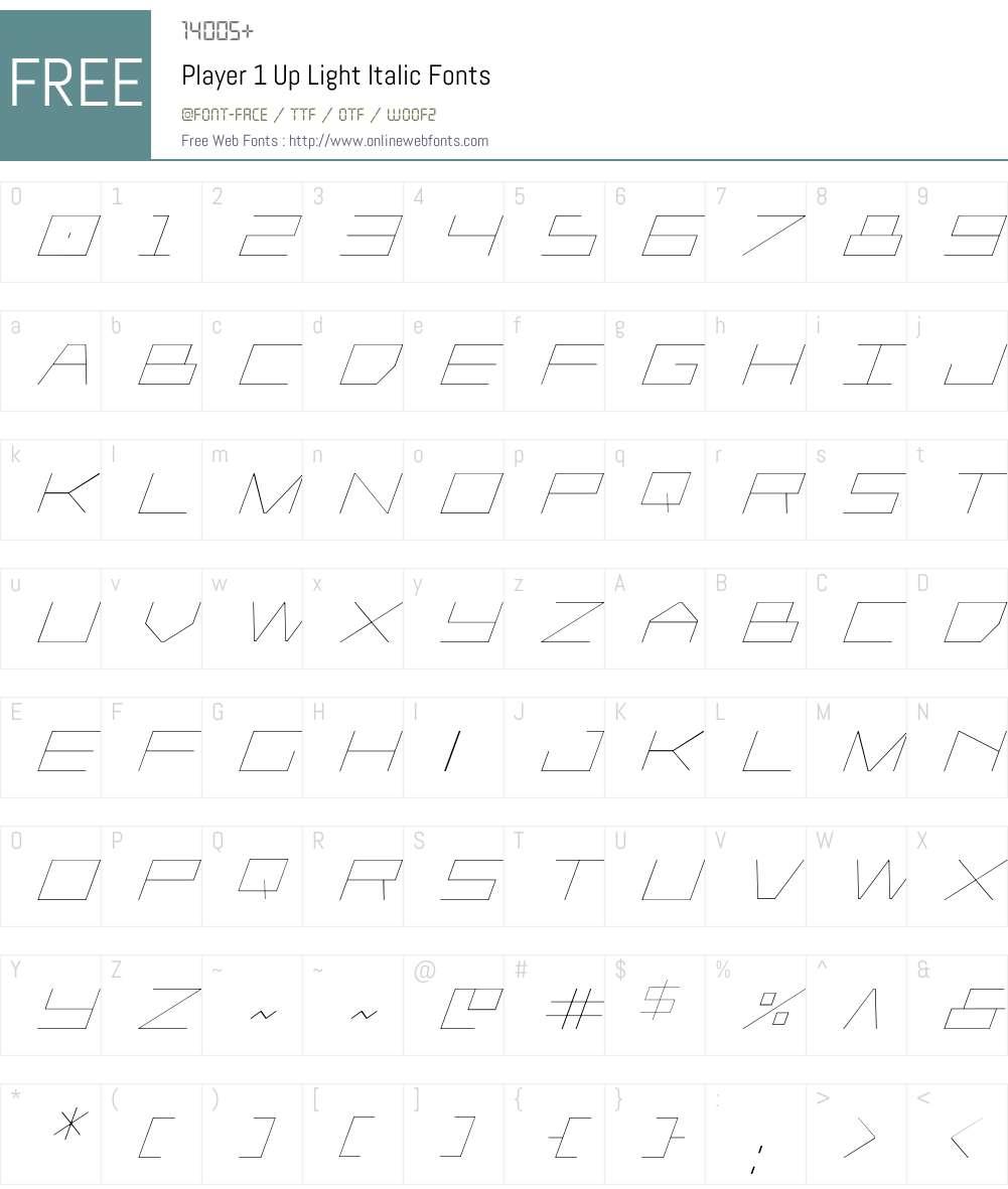 Player 1 Up Light Italic Font Screenshots