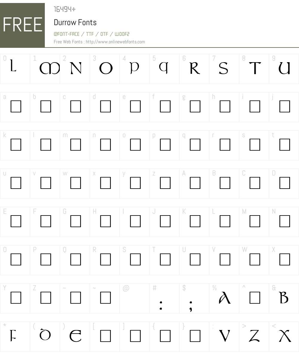 Durrow Font Screenshots