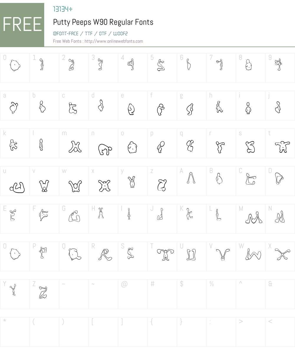 PuttyPeepsW90-Regular Font Screenshots