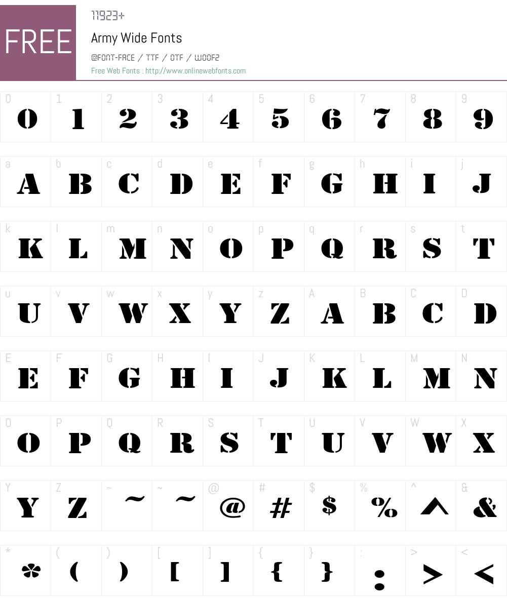 Army Wide Font Screenshots