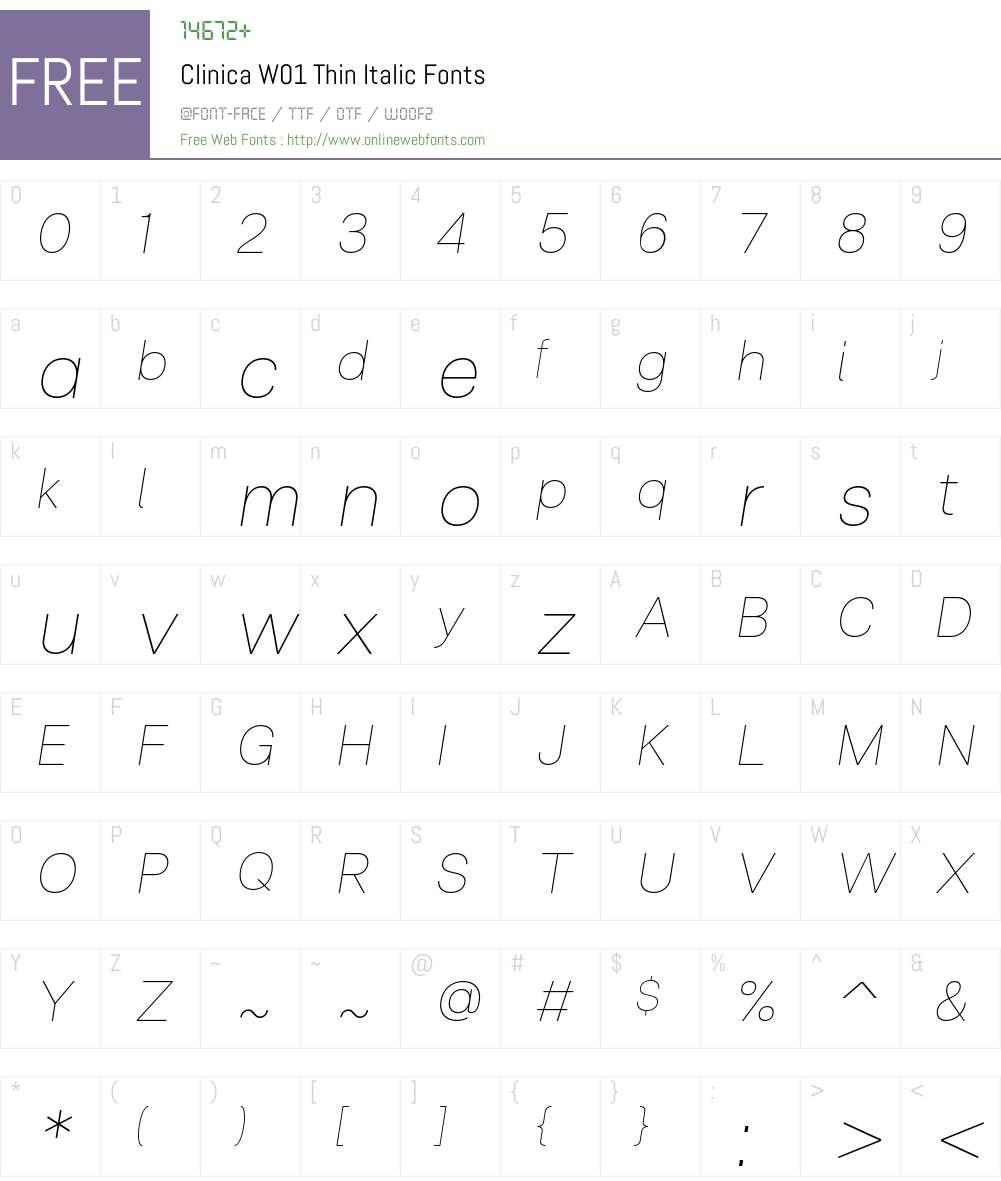 ClinicaW01-ThinItalic Font Screenshots