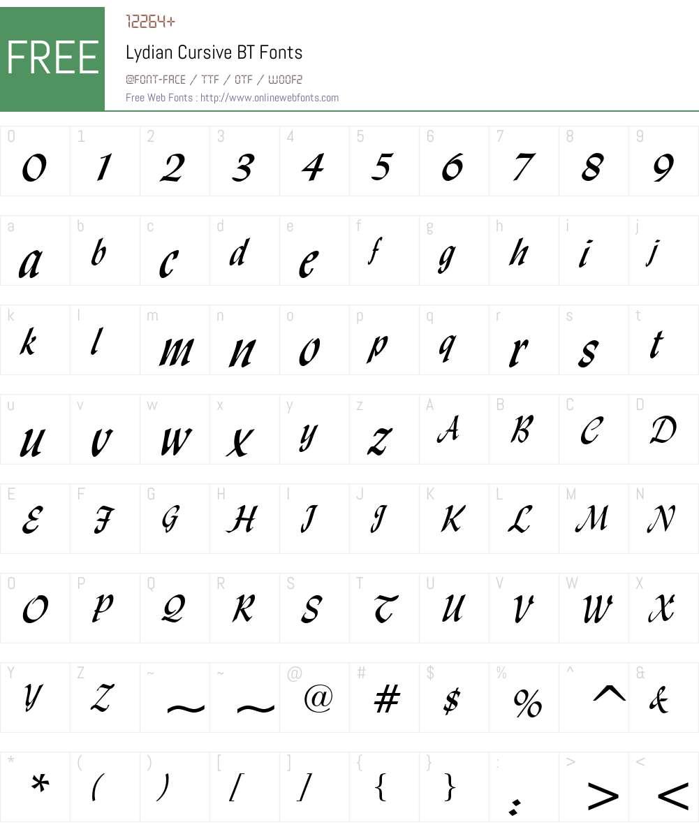 Lydian Csv BT Font Screenshots