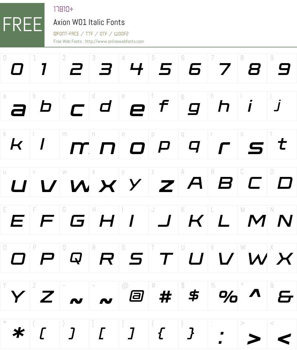 AxionW01-Italic Font Screenshots