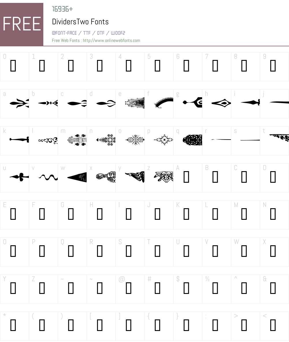 DividersTwo Font Screenshots