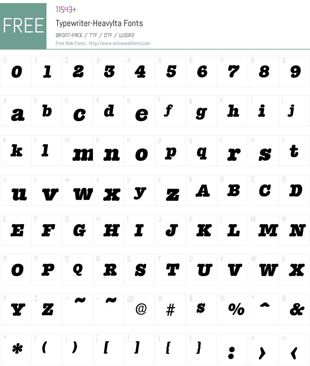 Typewriter-HeavyIta Font Screenshots