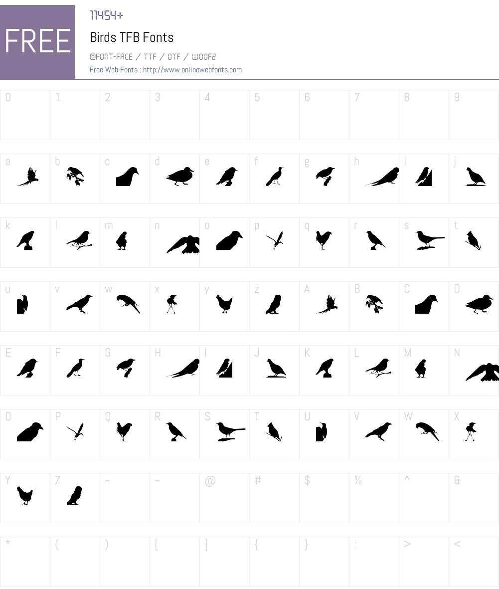 Birds TFB Font Screenshots