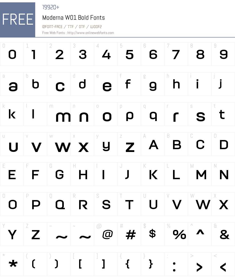 ModernaW01-Bold Font Screenshots