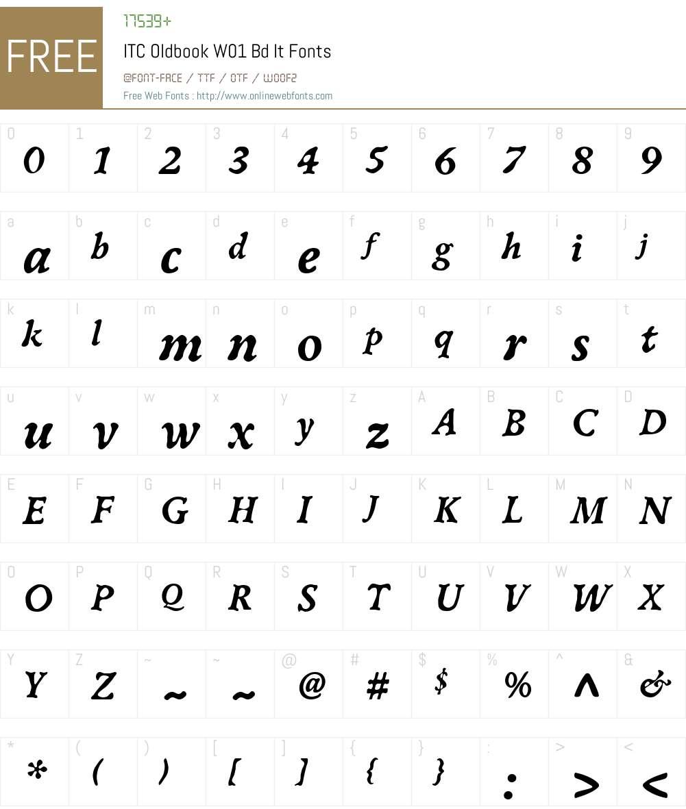 ITCOldbookW01-BdIt Font Screenshots