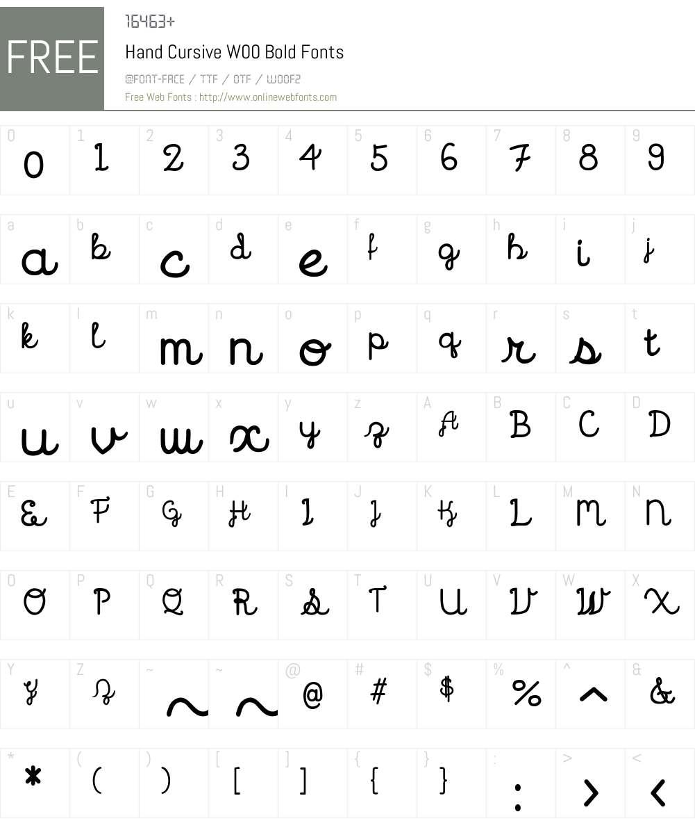 HandCursiveW00-Bold Font Screenshots