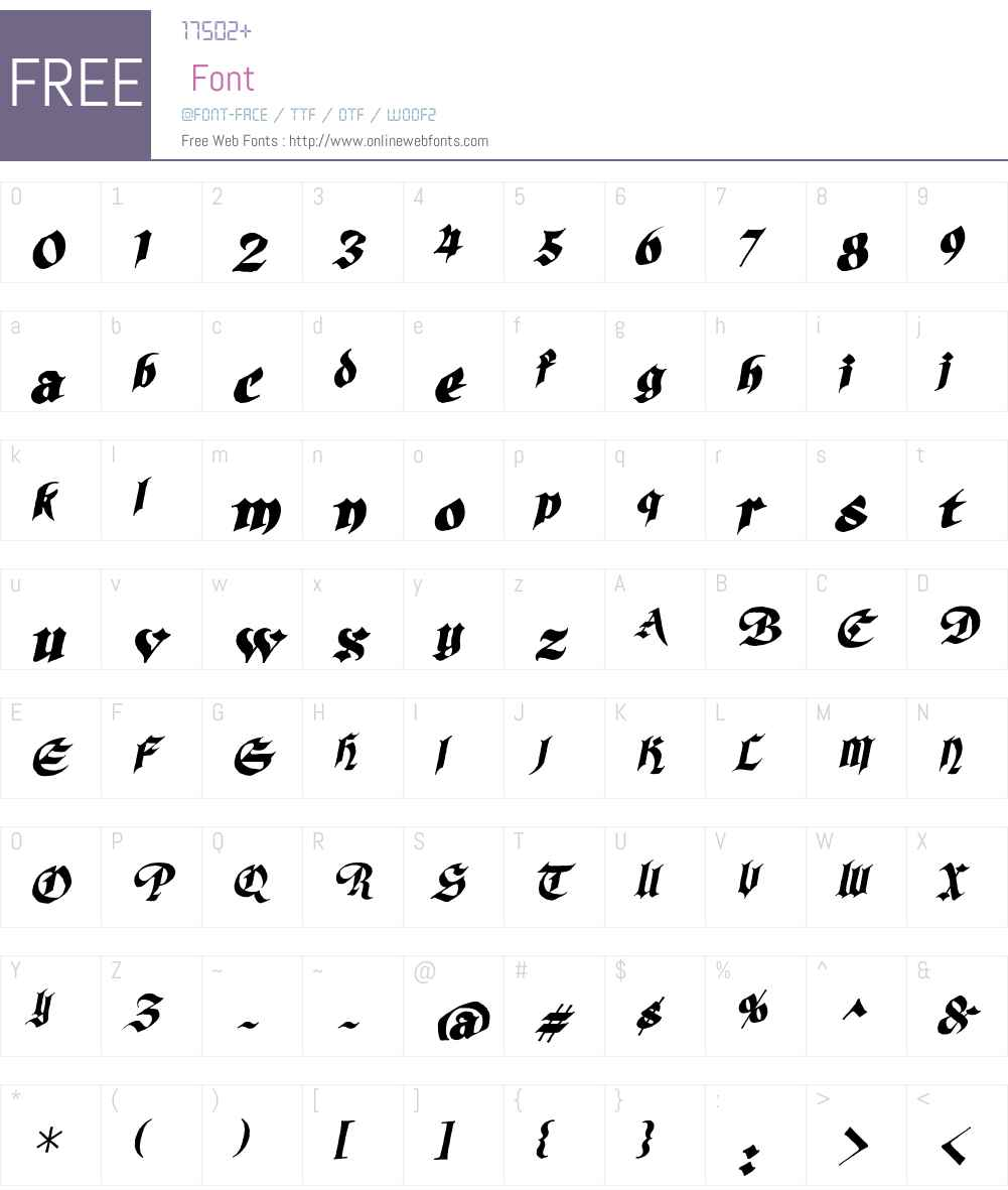 SilverBulletBBW00-Italic Font Screenshots