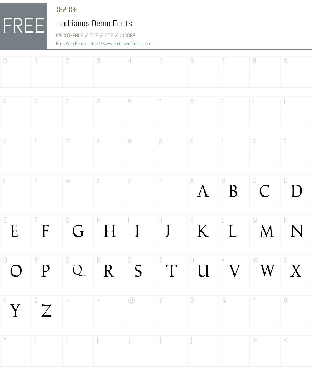 Hadrianus Demo Font Screenshots