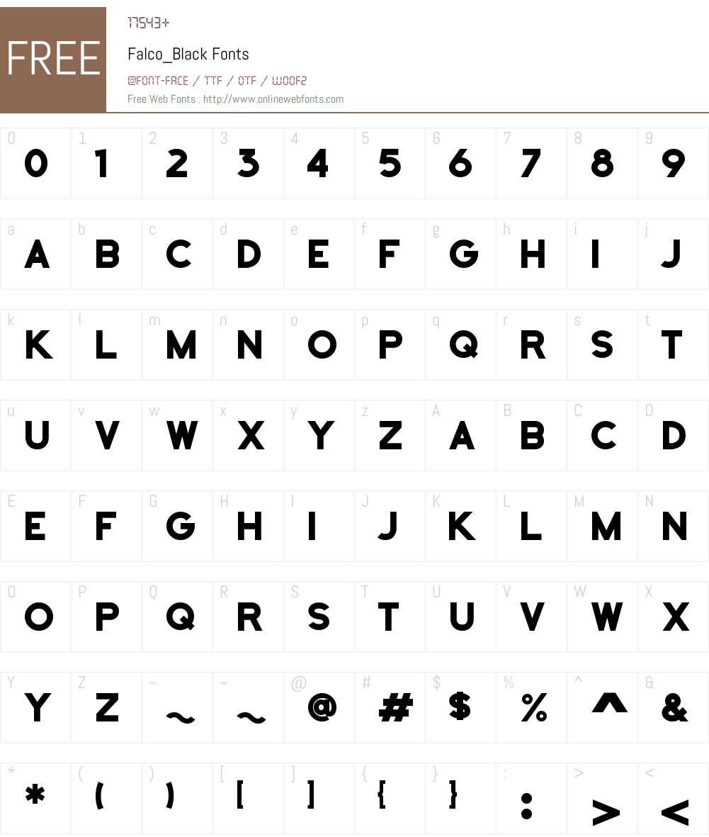 Falco Black Font Screenshots