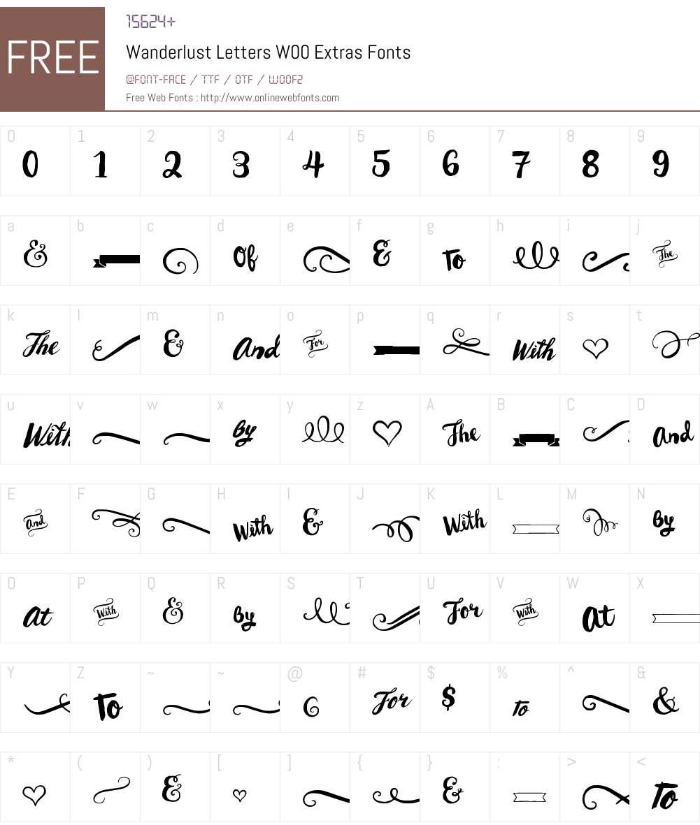 WanderlustLettersW00-Extras Font Screenshots