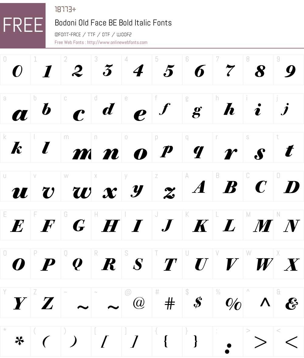 Bodoni Old Face BE Font Screenshots