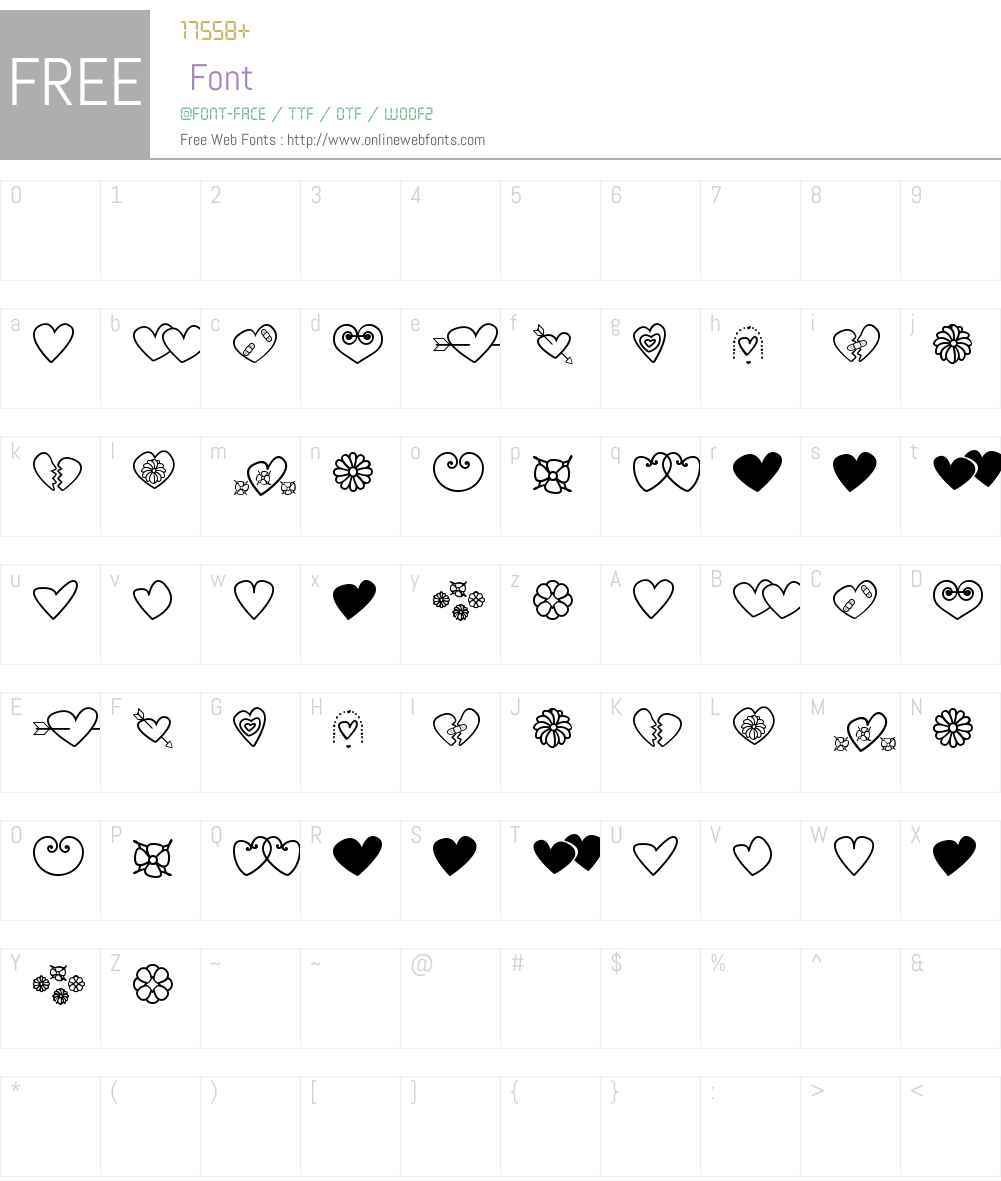 hearts and flowers for valentines Font Screenshots