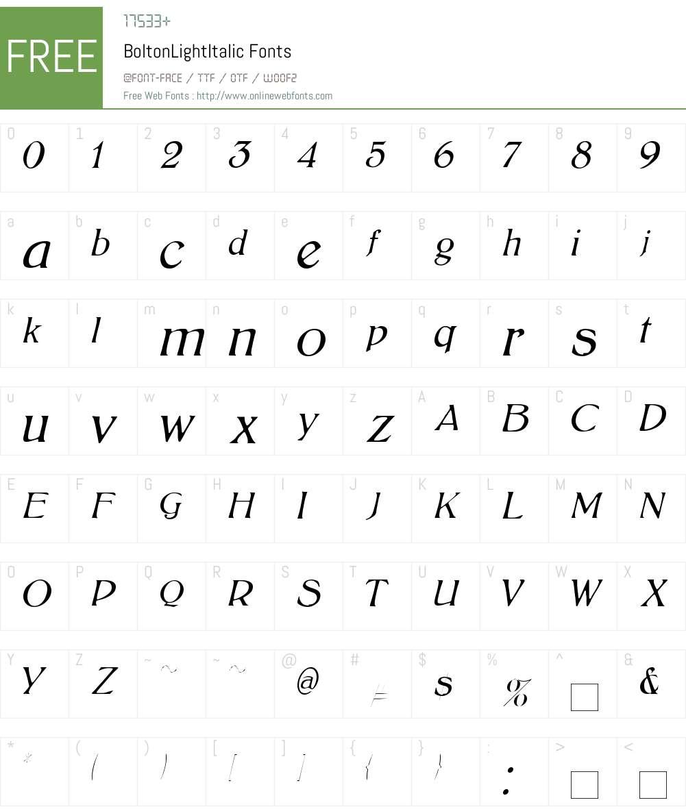 BoltonLightItalic Font Screenshots