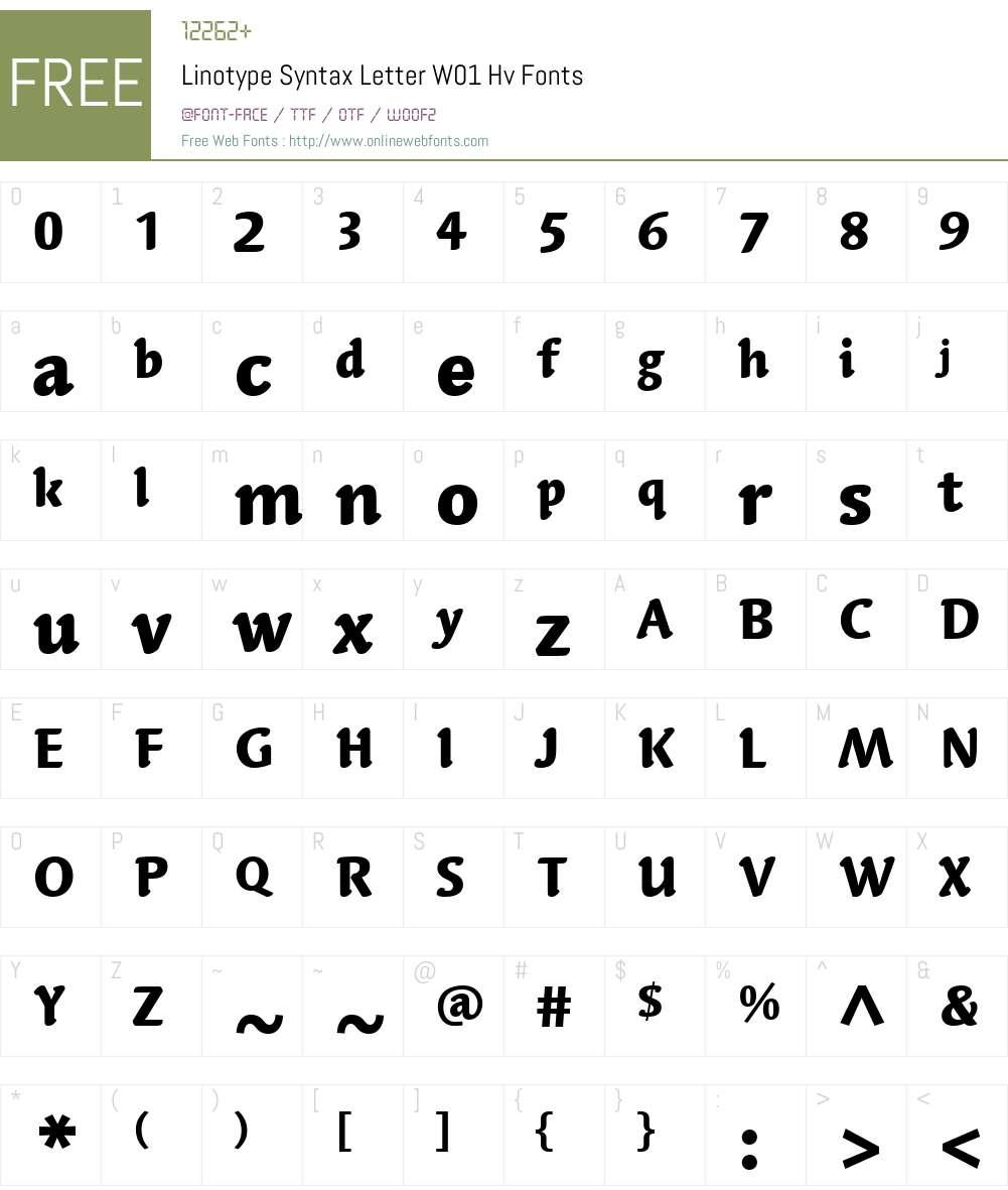 LinotypeSyntaxLetterW01-Hv Font Screenshots