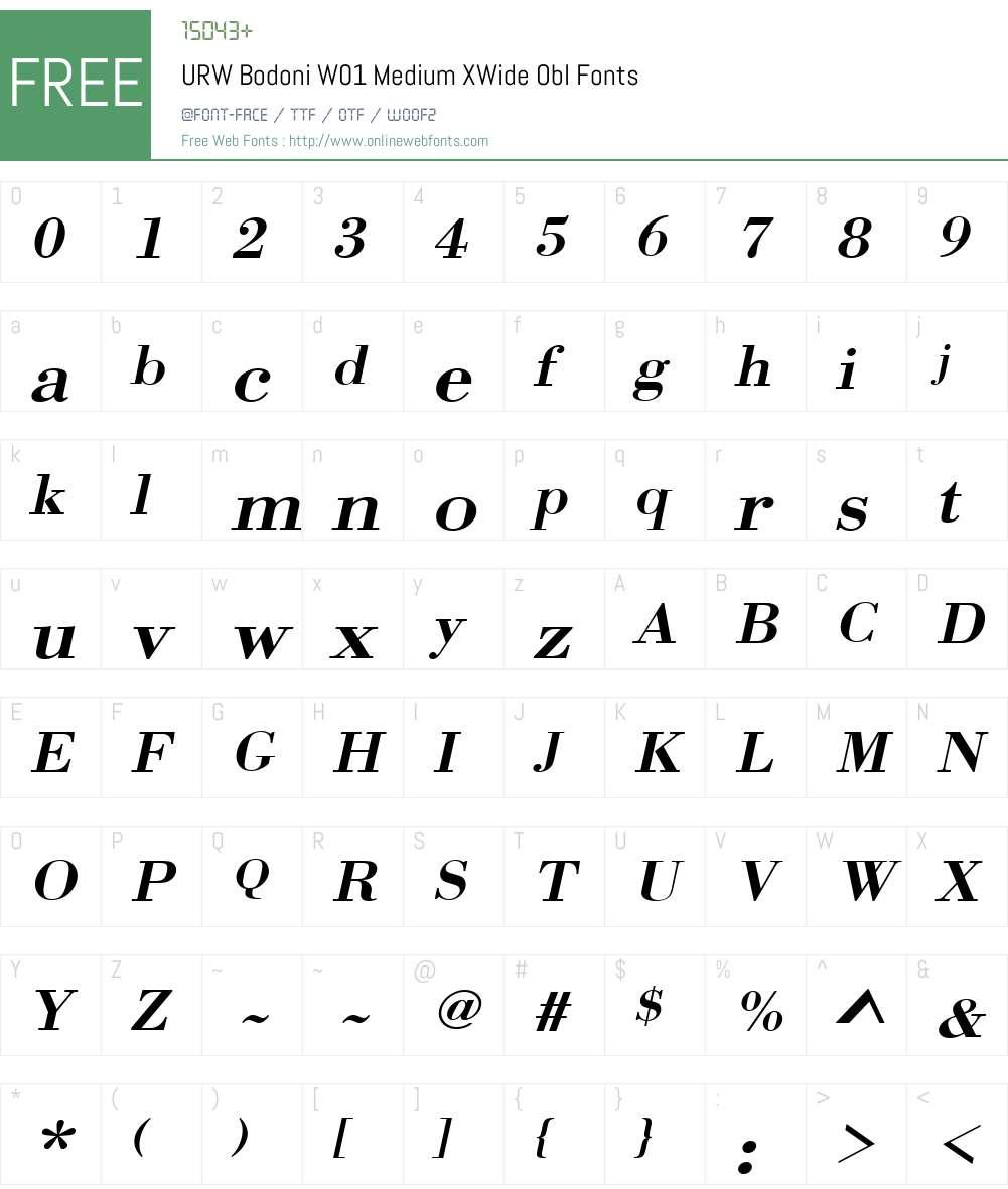 URWBodoniW01-MediumXWideObl Font Screenshots