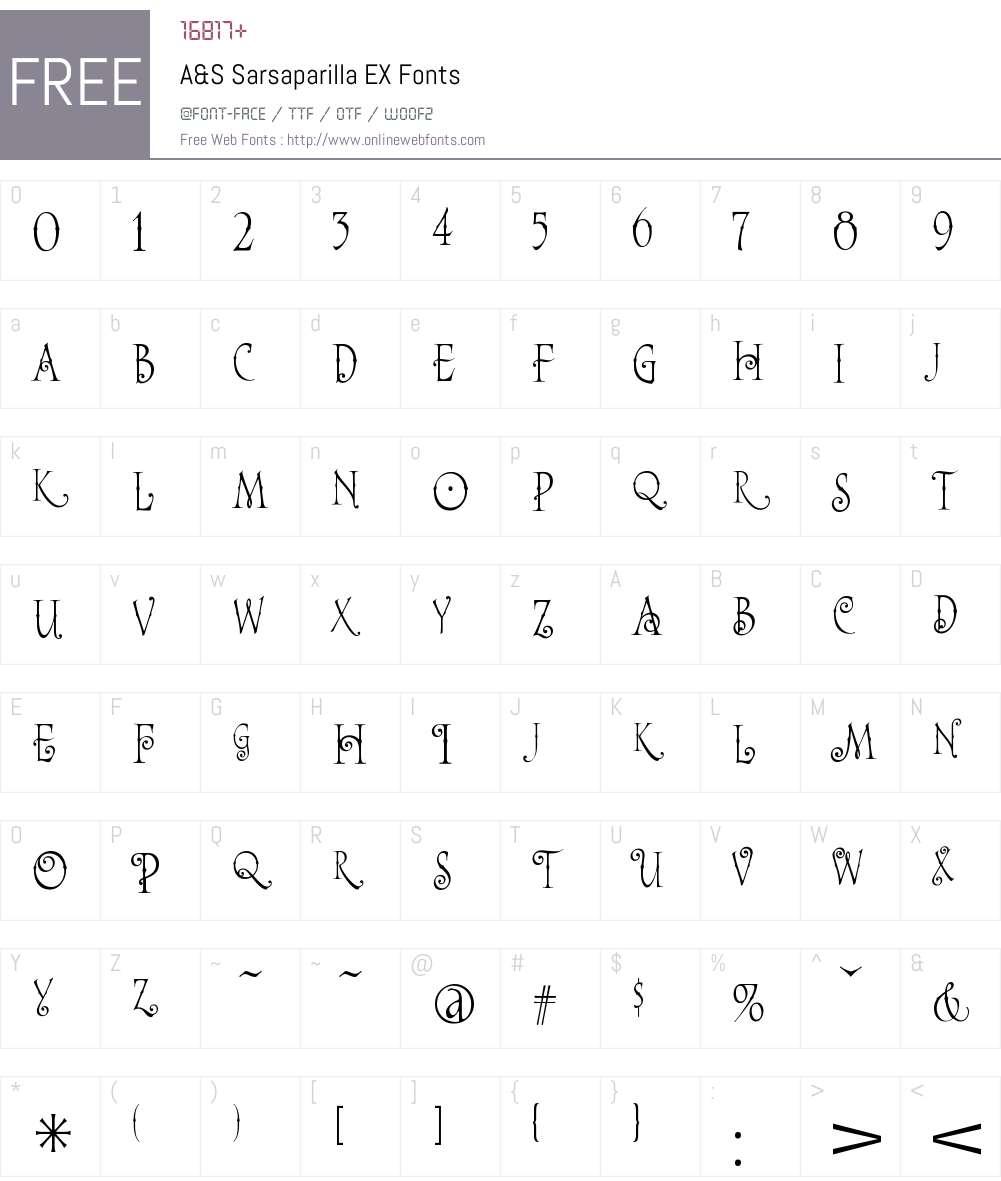 A&S Sarsaparilla EX Font Screenshots