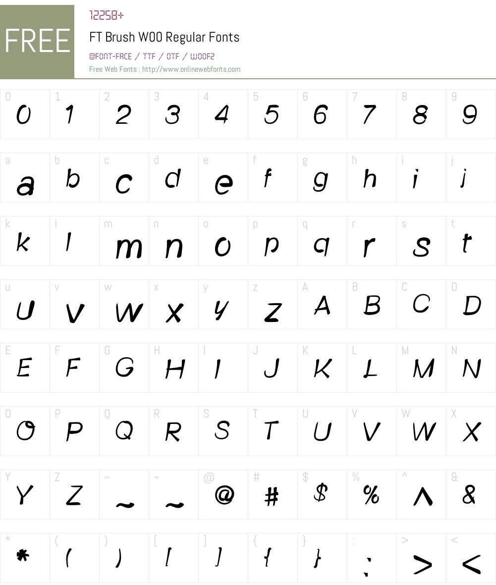 FTBrushW00-Regular Font Screenshots