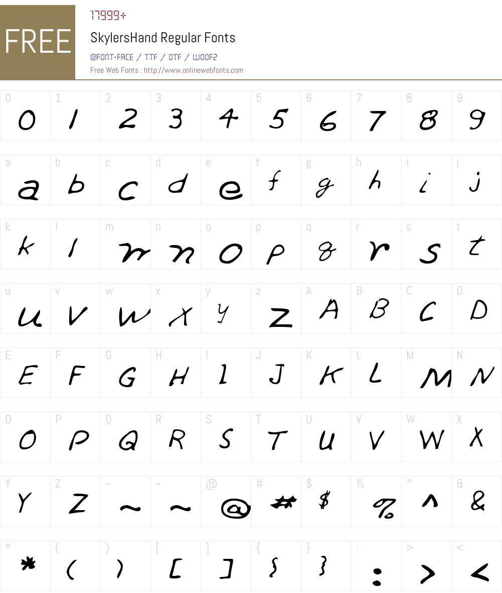SkylersHand Font Screenshots