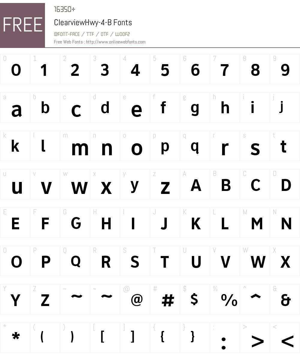 ClearviewHwy-4-B Font Screenshots