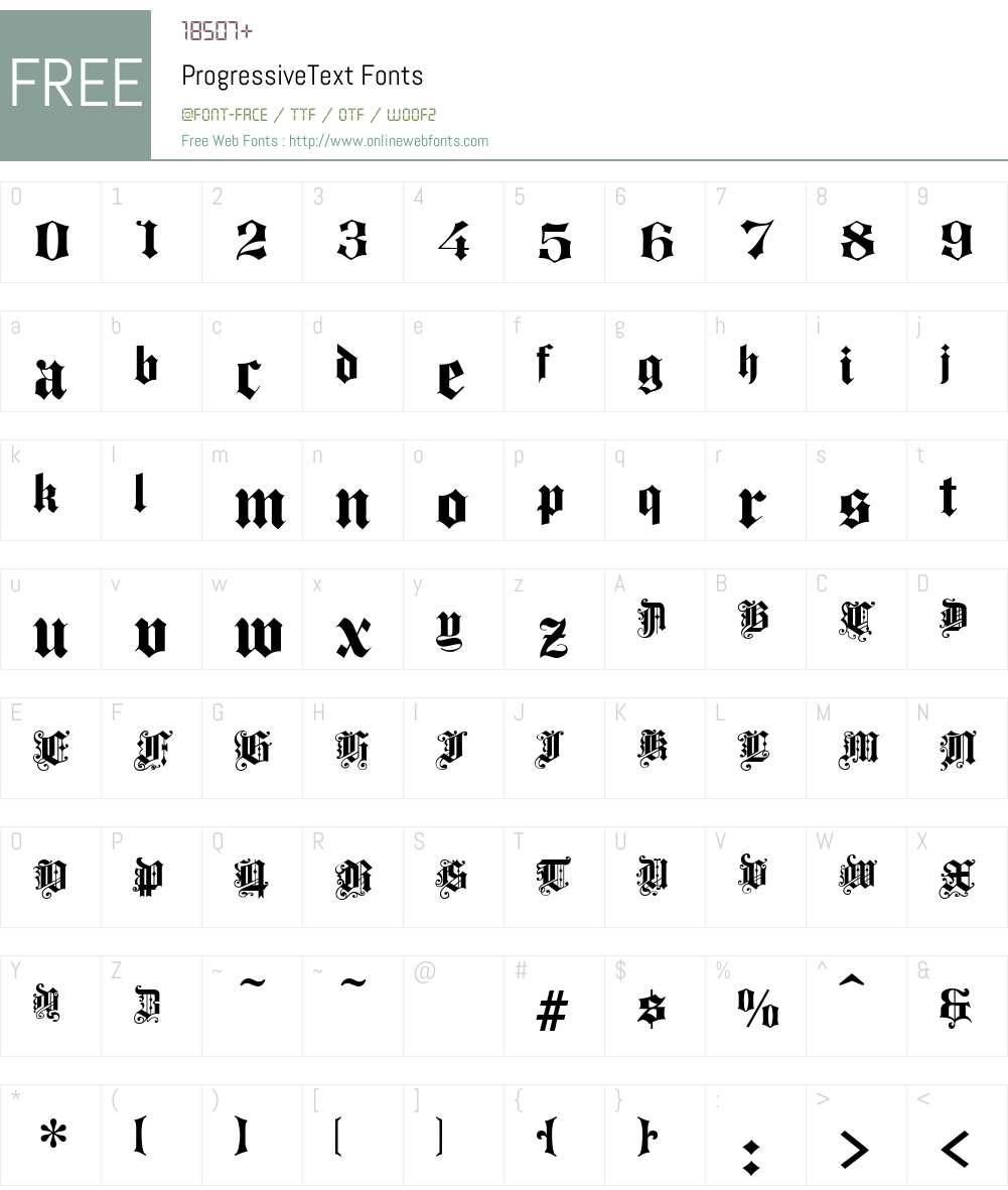 ProgressiveText Font Screenshots