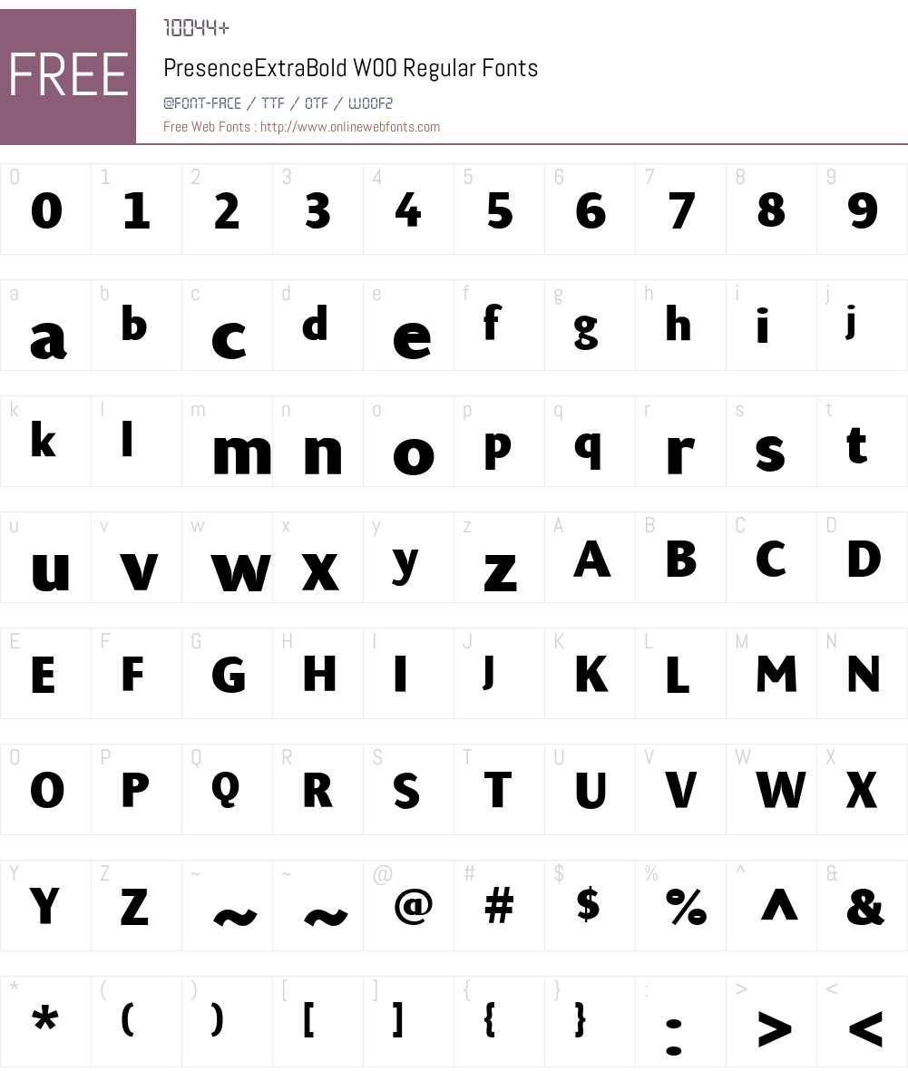PresenceExtraBoldW00-Rg Font Screenshots
