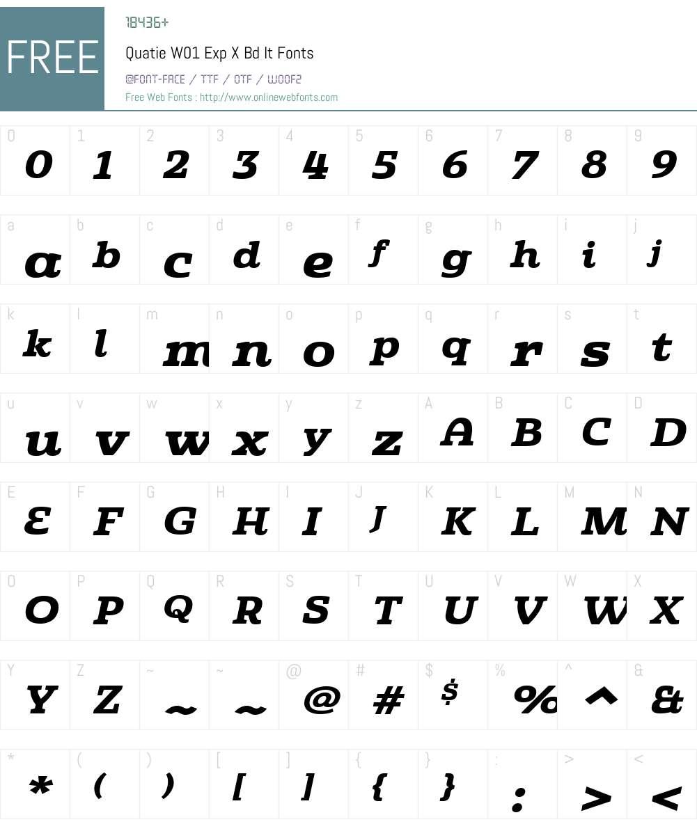 QuatieW01-ExpXBdIt Font Screenshots