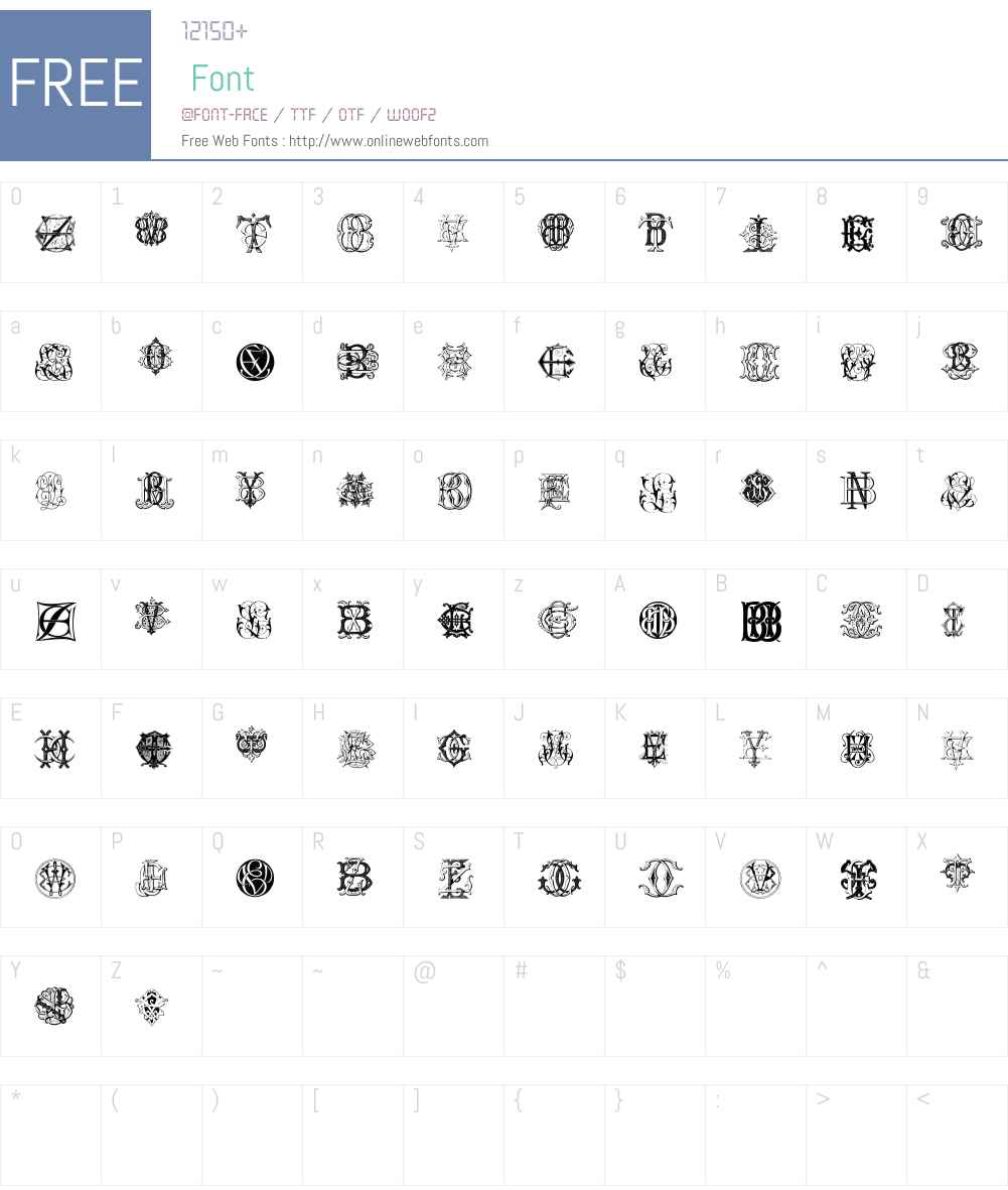Intellecta Monograms Random Samples Eleven Font Screenshots